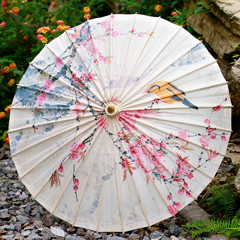 彩印花鸟油纸伞