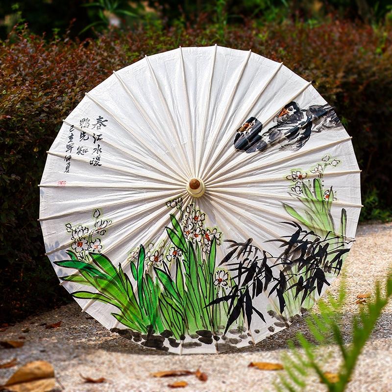 山水手绘油纸伞